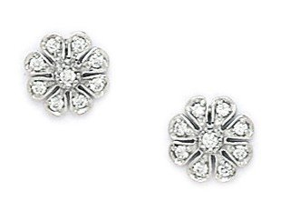 14ct White Gold CZ Large Flower Shape Screwback Earrings - Measures 8x8mm