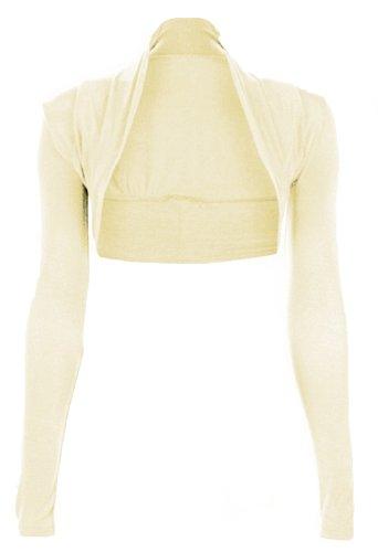 Hot Hanger Womens Long Sleeved Bolero Shrug Size 8-22 (8-10 SM, Cream)