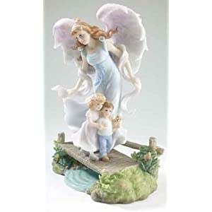 "Heavenly Protector Angel Statue - Angelie - Stone Resin - 9.5"" High"