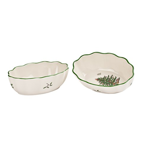 Spode Christmas Tree Fluted Oval Dish, Set of 2 2 Spode Christmas Tree