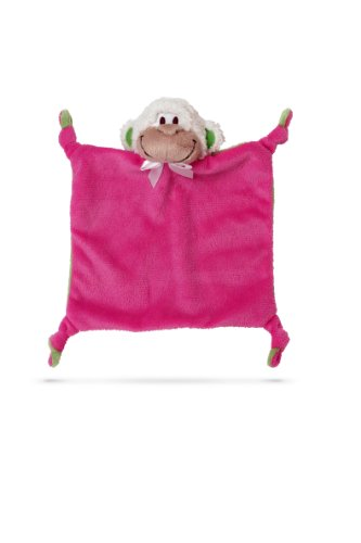 Friendly Pacifier Flatsie Blanket with Detachable Pacifier, Pink Monkey