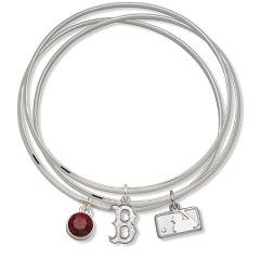 MLB Officially Licensed Boston Red Sox Bangle Bracelet Set W/ Red Crystal