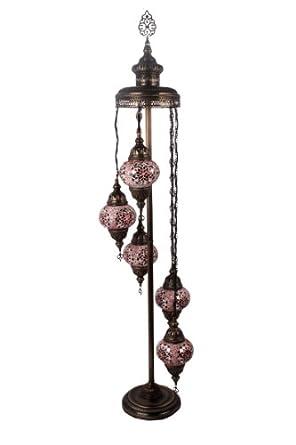 Art win lighting f11012 5s red 5 light handmade turkish for Red 5 light floor lamp