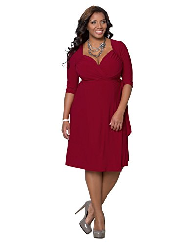 Sweetheart Knit Wrap Dress (1X, Red Rendezvous)