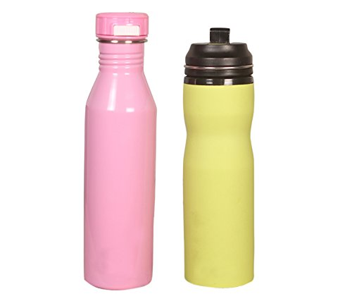 Water Bottle Online Shopping: Belomoda Pink And Florescent Green Stainless Steel Water