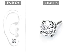 Fine Jewelry Vault UBMER14WH4RD100D Mens 14K White Gold- Round Diamond Stud Earring - 1.00 CT. TW.