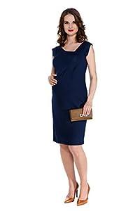 My Tummy Vestido premamá clásico para oficina Natalie azul marino