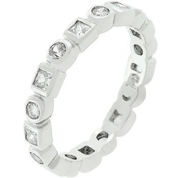 Rhodium Plated Cubic Zirconia Bezel Set Eternity Band in Size 10