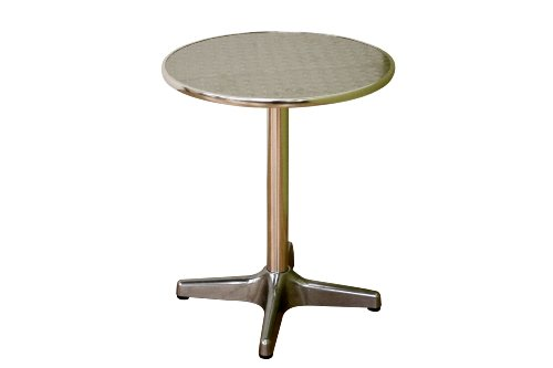 Baxton Studio Graziella Steel-Base Aluminum-Top Pedestal Table