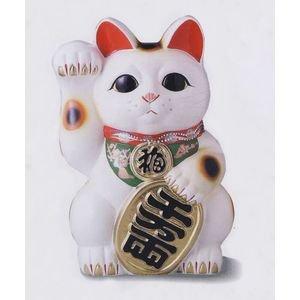 【常滑焼】白小判 招き猫 4号右手 開運