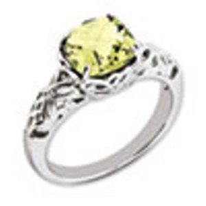 Sterling Silver Genuine Lemon Quartz Ring