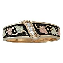 buy Black Hills Gold Antiqued Men'S Wedding Ring With Diamonds From Coleman - Size 9
