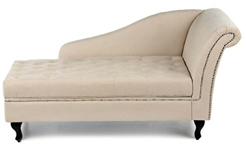 Traditional Storage Chaise Lounge - This Luxurious Lounger w/ Tufted Cushions is a Great Addition to Your Office, Living Room, or Bedroom -Made of Wood and Microsuede - Free eBook (Khaki) 3
