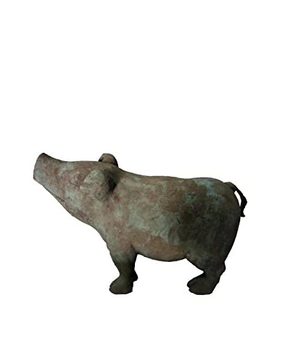 Grandscale Pig Sculpture, Verdigris Bronze