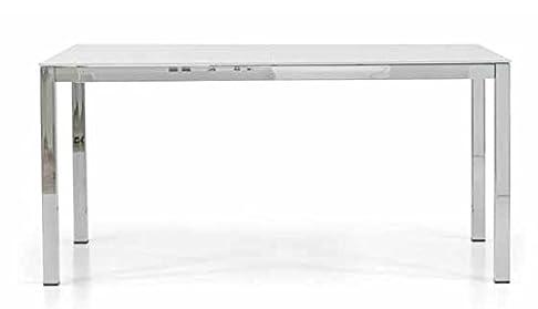 Montefioredesign - Tavolo Allungabile In Metallo Cromo Con Piana In Vetro Crystal