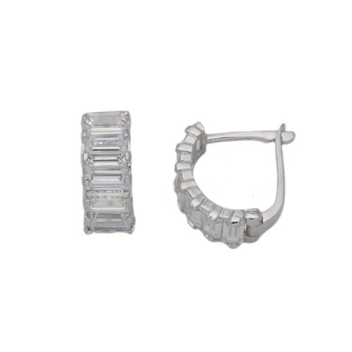 9ct White Gold Cubic Zirconia Baguette Huggie Earrings