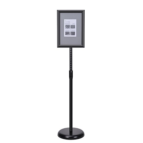 Smonet Adjustable Pedestal Sign Holder Floor Stand with Telescoping Post, Poster Frame for 8 X 11 Inches Graphics, Top-loading Vertical Design-Black Metal (Black Acrylic Stand compare prices)