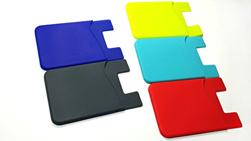 eWing 5-Colors-Pack Silicone Card Holder with 3m Adhesive Back (For Phone, Car, Office, Computer, Home or Anywhere You Want to Keep Cards)