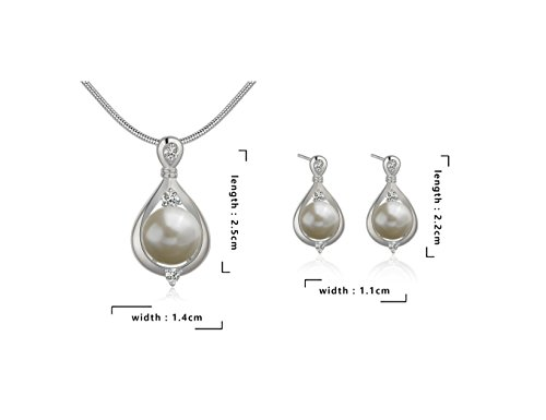 Pmany Vintage Waterdrop Shaped 925 Sterling Silver Plated Pearl Pendant Necklace Ring Earring Jewelry Set Gift (Necklace+Earrings)