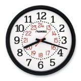 Lorell Military Wall Clock 14-3/4-Inch White Dial/Black Frame