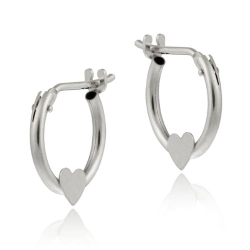 10K White Gold Mini Hoop Heart Earrings