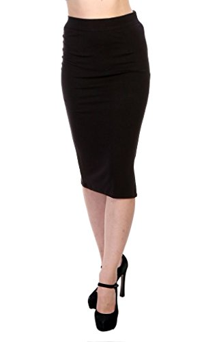 JAMES SCOT- Women's Fashion Black Colour Bodycon High Waist Stretch Knee Length Midi Solid Pencil Skirt