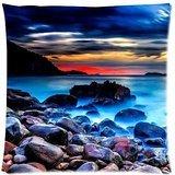 Charming Frame - Night Wonderland Sea Beach Pebbles Sea Stone Design Cushion Pillow Case,Twin Sides Zippered Pillowcase Pillow Cover 18x18 inches
