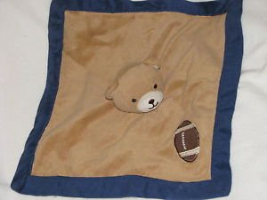 Tiddliwinks Brown and Blue Bear with Football Plush Blanket - 1
