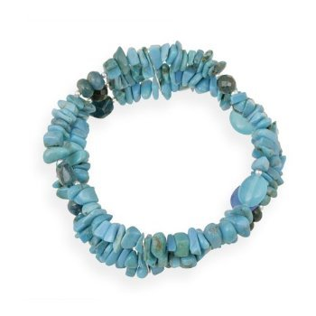 Sterling Silver Turquoise, Agate, Apatite Multi Strand Fashion Bracelet