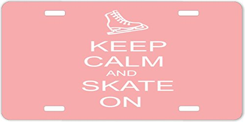 Rikki KnightTM Keep Calm and Skateboard On Light Pink Design License Plate