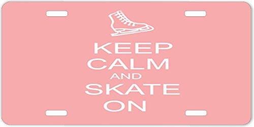 Rikki KnightTM Keep Calm and Skateboard On Light Pink Design License Plate
