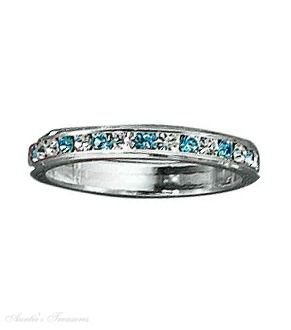 Sterling Silver March Birthstone Eternity Ring Size 6