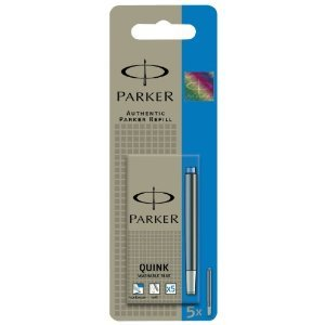 Parker Quink Lot de 5 cartouches Bleu effaçable