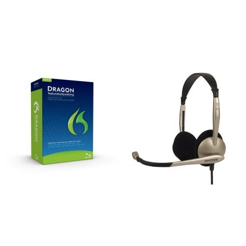 Dragon Naturallyspeaking Premium 12 With Koss Cs100 Speech Recognition Computer Headset Bundle