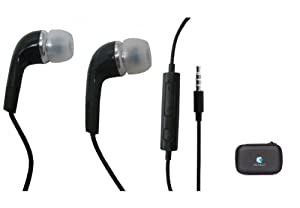 Stereo Black HandsFree Headset 3.5mm Wired Dual Earbuds Headphones for Straight Talk Samsung Galaxy S2 - Straight Talk Samsung S390G - T-Mobile Samsung Galaxy S 4G - Includes a Hard Carrying Case