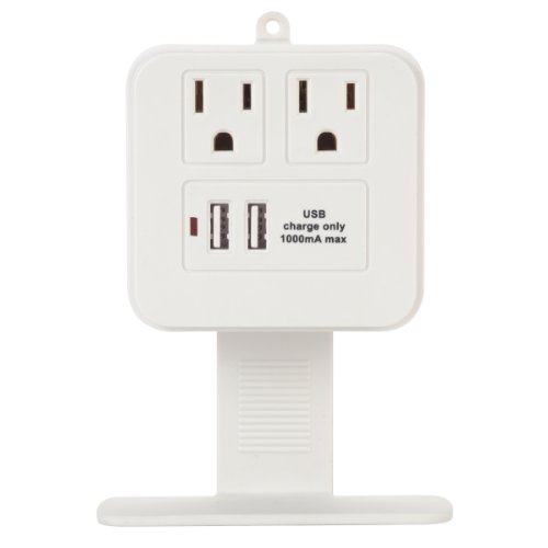 Globe Electric 46082 2 Outlet Surge Protector with 2 USB Charging Ports Removable Phone Shelf