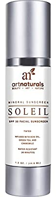 Art Naturals Facial Sunscreen SPF 30 & Tinted Moisturizer / Anti Aging Cream - 1.5 oz Water Resistant 80 Minutes - Made with the best Natural & Organic Ingredients In the USA - For all Skin Types