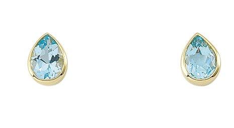 Damen Schmuck 1 Paar Gold Ohrringe / Ohrstecker mit Aquamarin aus 585 Gelb Gold ( 5,9 x 8,1 mm ) als Geschenk