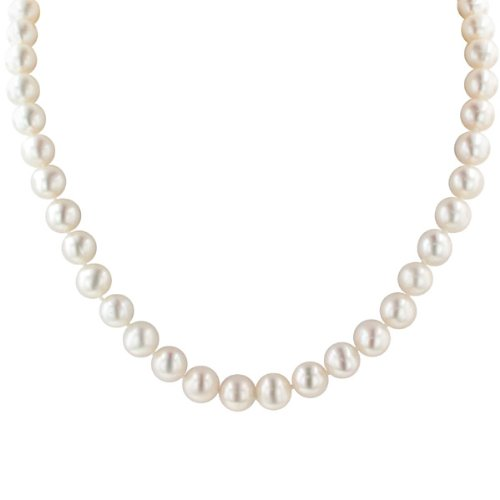 White Freshwater Cultured Pearl Necklace with Sterling Silver Clasp (9-10mm) , 18""