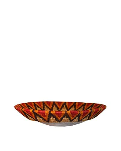 Asian Loft Red Grass Wicker and Polished Aluminum Swaziland Bowl, Silver/Red/White/Black