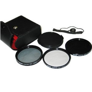 Bower 62mm Digital Hi Resolution Filter set UV, CPL, ND4 with cap and leash