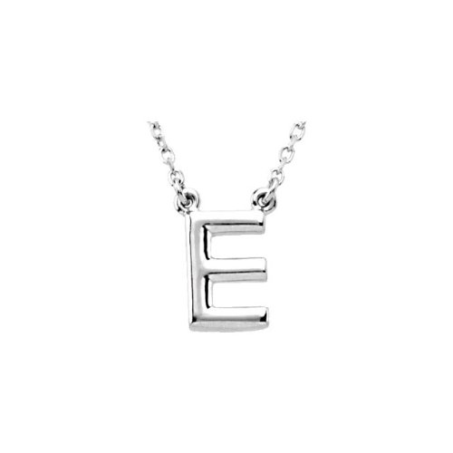 14K White Gold Block Initial Necklace E 16