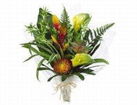 Allstate FBQ210-OR-GR 21 in. Calla Lily-Protea Bouquet Orange-Green- Pack of 4