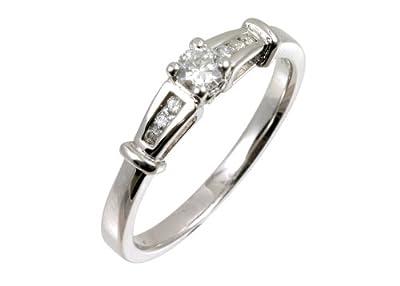 Ariel 9ct White Gold Diamond Single Stone With Diamond Shoulders Ladies Ring