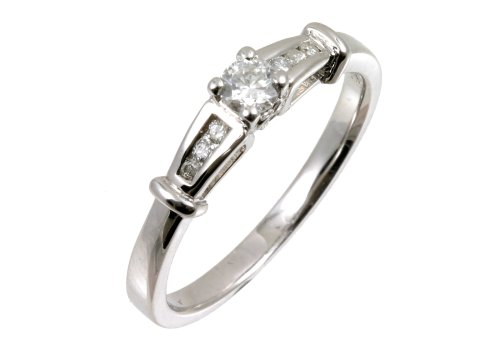 9ct White Gold Diamond Engagement Ring With Round Brilliant Diamond Solitaire, With Diamond Set Shoulders, 1/4 Carat Diamond Weight