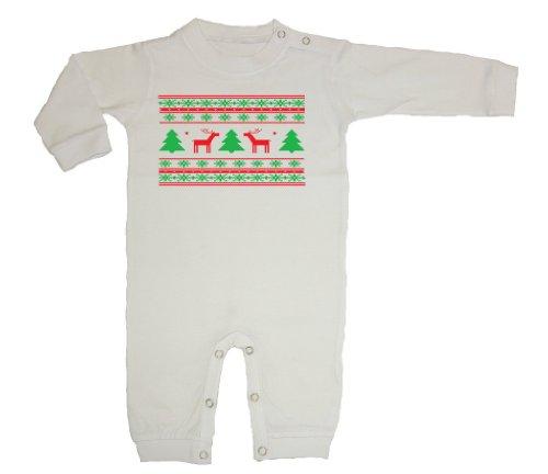 Festive Threads – Christmas – Ugly Christmas Sweater (Deer Design) – Infant & Toddler Long Sleeve T-Shirt Romper