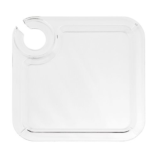 Acrylic Buffet Plate 8'' with Built in Wine Stem Holder - Reusable - Set of 12 - (Appetizer Plates With Wine Holder compare prices)