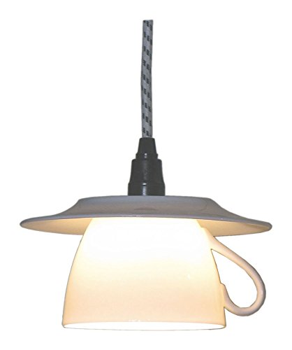 King Kong - Lampadario pendente a forma di tazza da cappuccino, in porcellana, E14, 60W