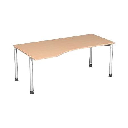Stockholm PC de mesa Izquierda Base niveladora Tornillos, madera, Buche - Anthrazit, 1800x800-1000x720 mm