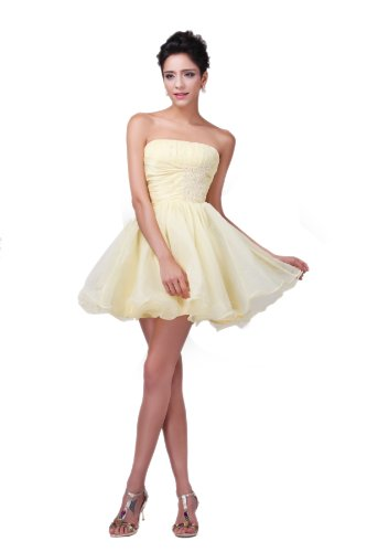 Onlyuswedding Women'S Strapless Organza Stretch Satin Silk Beaded Ball Gown Dh0018-Xx-Large Yellow